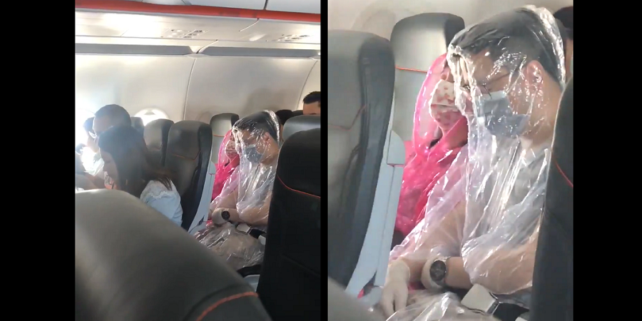 Flight passengers covered themselves in full protective gear amid coronavirus fears